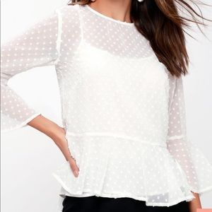 Lulus Picturesque White Flounce Sleeve Top